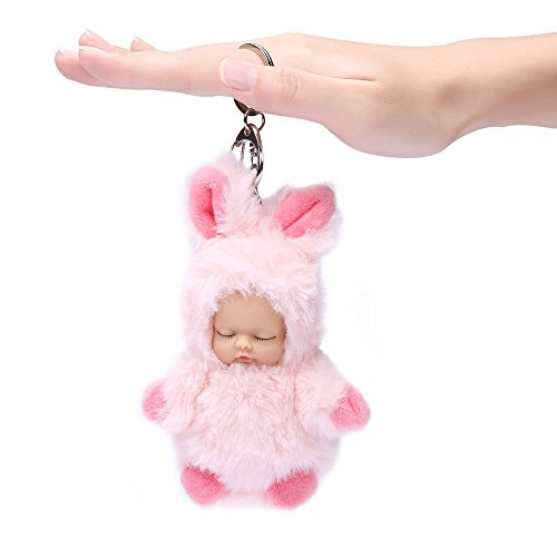 Price comparison product image Plush Doll Key Chain Soft Sleeping Doll Pendant-Gifts-Cute Ornament/Accessory for Women Handbag Cellphone Car Pendant (Pink)