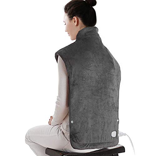 "XXX-Large Electric Heating Pad for Neck and Shoulders, Heating Pad for Back Pain with Auto Off, ETL Certified, FDA Registered, 6 Temperature Settings, Fast Heating, 25"" x 32"", Dark Gray"