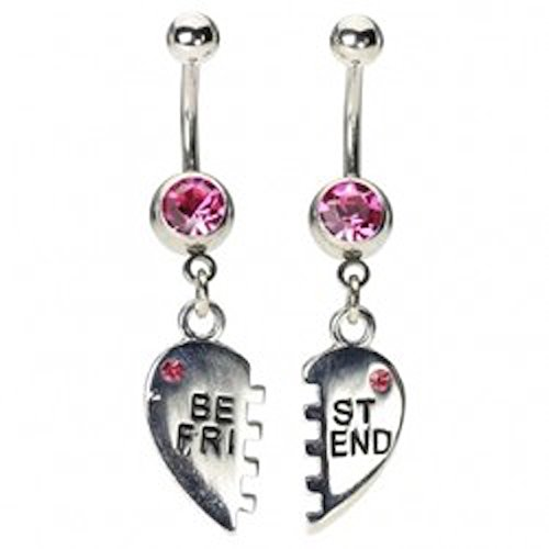 BFF Belly Button Rings - Hot Pink Jewels (Hot Belly Rings)