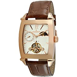 Peugeot Men's Automatic Stainless Steel and Leather Casual Watch, Color:Brown (Model: MK901RG)