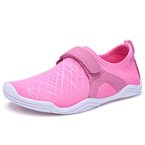 BTDREAM Boy and Girl's Athletic Water Shoes Quick-Dry Slip on Aqua Sock for Beach Pool Swim Surf Walking Pink Size (Performance Velcro Shoe)