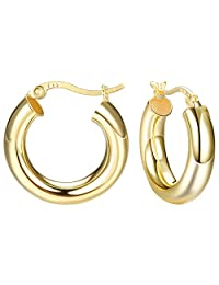 Milacolato 14K Gold Plated Sterling Silver Round Hoop Earrings High Polished Round-Tube Classic Click-Top Hoop Earrings for Women Men