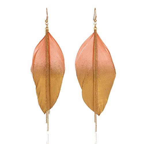 6 Colors Fashion Jewelry Two Fluorescent Double Color Exotic Dangle Eardrop Earring Long Metal Tassel Feather Earrings For Women,E021270B