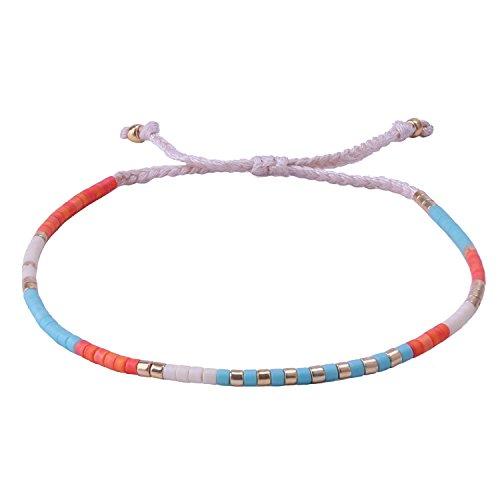 KELITCH Crystal Mix Shell Beaded Strand Bracelet Hand Woven Friendship New Jewelry Orange