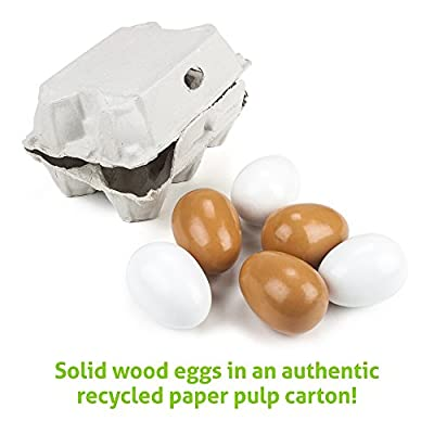 Imagination Generation Wood Eats! Eggcellent Eggs with Real Carton: Toys & Games