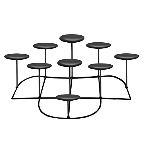 Cheap  smtyle DIY 9 Battery Operated Candles Candelabra Decorative Black Iron Pillar Candle..