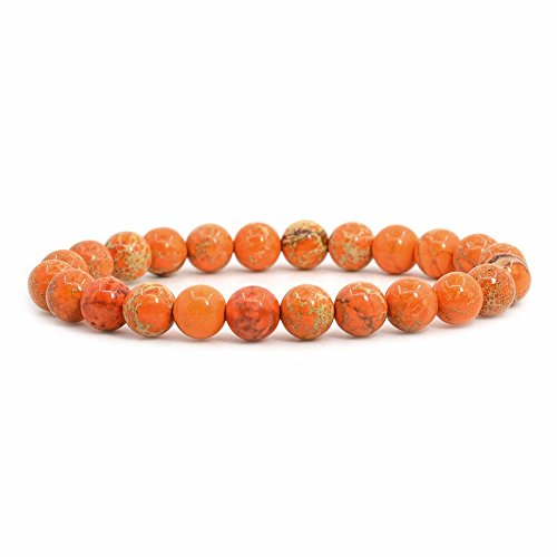 Orange Sea Sediment Jasper Gemstone 8mm Round Beads Stretch Bracelet 7