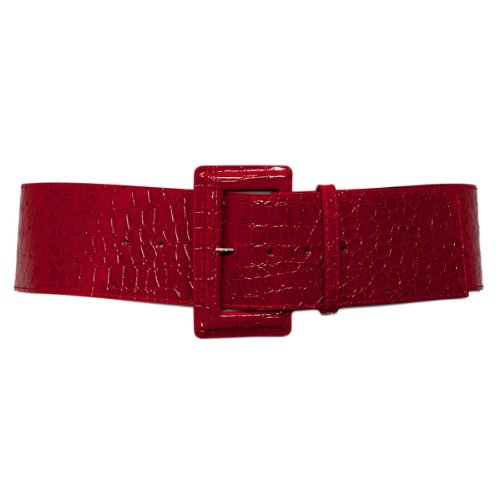 EVogues Plus Size Croco Print Patent Leather Belt Red - One Size Plus