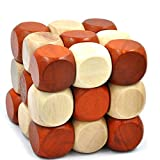 GYBBER&MUMU Wooden Brain Puzzles Excellent 3D IQ Brain Teasers Wooden Painted Dices Cube IQ Toys