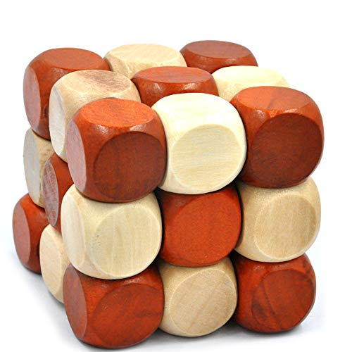 GYBBER&MUMU Wooden Brain Puzzles Excellent 3D IQ Brain Teasers Wooden Painted Dices Cube IQ - Teaser Dice Brain