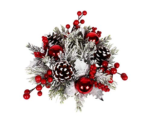 Red and Silver Frosted 12 Inch Christmas Candle Ring for 3 Inch Pillar Candle with Berries, Ornaments and Pinecones