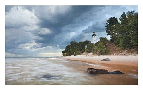 (Lunarable Lighthouse Doormat, Au Sable Lighthouse in Pictured Rock National Lakeshore Michigan USA, Decorative Polyester Floor Mat with Non-Skid Backing, 30 W X 18 L inches, Blue Green Cinnamon)