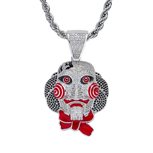 MoCa Hip Hop Iced Out Bling Chain Clown 69 Pendant Halloween Saw Billy Cosplay Necklace with 24 Inch Stainless Steel Rope Chain (Silver) -