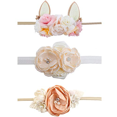 Baby Girl Floral Headbands Set - 3pcs Flower Crown Newborn Toddler Hair Accessories by mligril, Blush Coral, Small