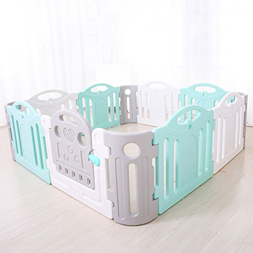Children's Playpen Guardrail Baby Game Safety Fence Play Yard Indoor Toddler Crawling Door Bar Toy Playground,Plastic PE,Blue White Color (Size : 19019068cm)