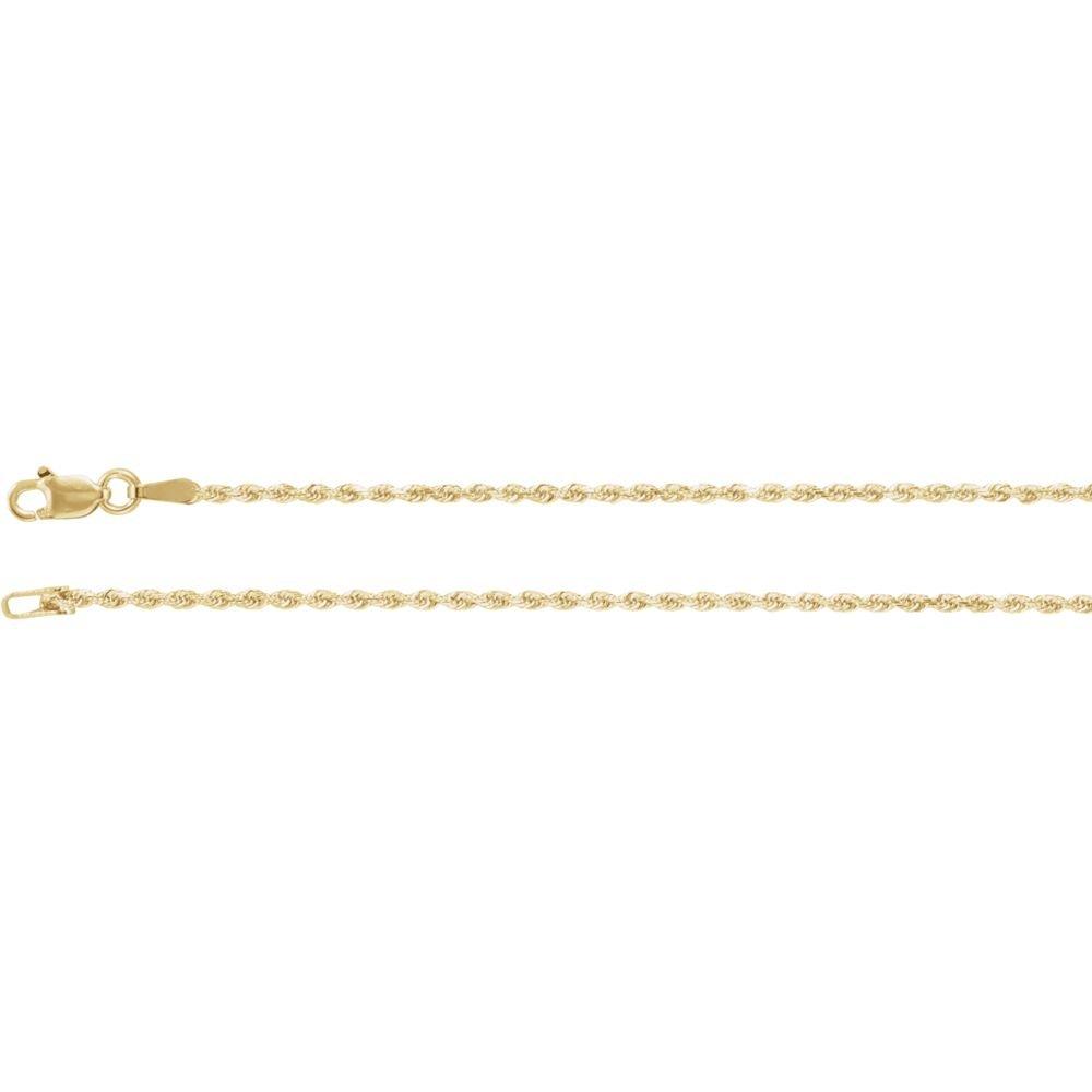 FB Jewels 10K Yellow Gold 1.5mm Diamond Cut Rope 18 Chain