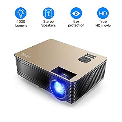 4000 Lumens Projector HD LCD Multimedia Video Projector 1080P Supported Home Theater with Stereo Sound Effect Compatible with Fire TV Stick, PS3, PS4, HDMI, VGA, TF, AV and USB