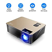4000 Lumens Projector Full HD LCD Multimedia 1080P Video Projector Home Theater with Stereo Sound Effect Compatible with Fire TV Stick, PS3, PS4, HDMI, VGA, TF, AV and USB