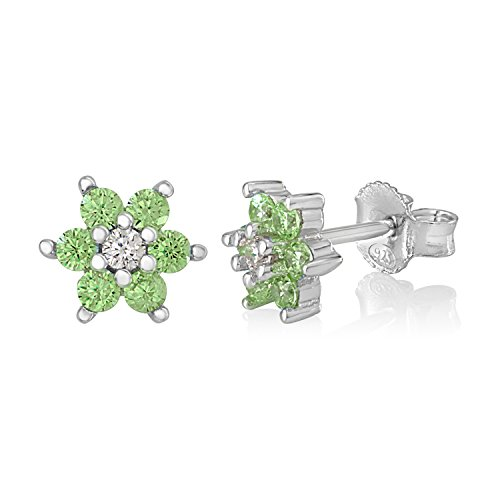 - UNICORNJ Childrens Sterling Silver 925 Light Green CZ 6 Petal Flower August Birth Month Stud Post Earrings Italy