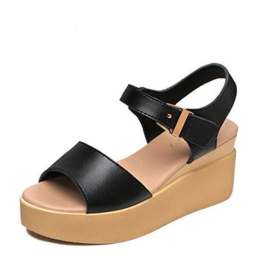 Y Y 7Cm Cómodo Tacón Con Sandals Black Estudiantes Grueso De De Mujer Zapatos Plana Una Los Bizcochos Con Colombo Verano Zapatos Alto HGTYU En Base 7PTwIq7