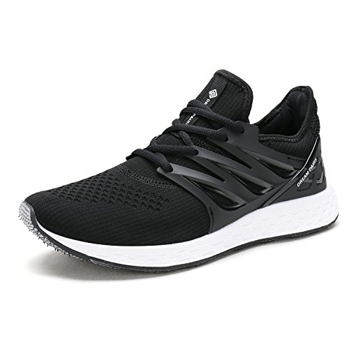 DREAM PAIRS Women's 170330-W Black White Comfortable Soft Lace-up Running Shoes Size 8.5 M US