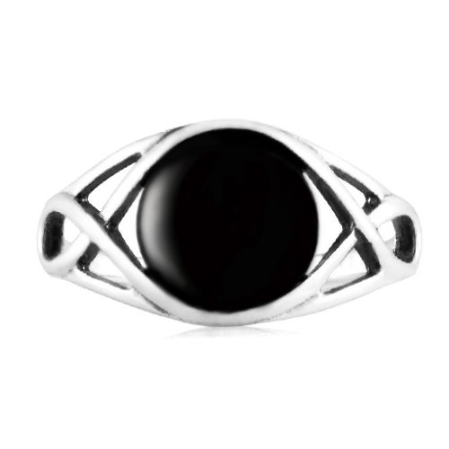 Sterling Onyx Genuine Silver (925 Sterling Silver Genuine Black Onyx Celtic Knot Triquetra Trinity Knot Ring - Size 9)