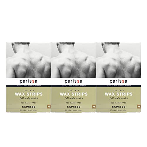 Parissa Men's Wax Strips & 8 ml Aftercare Oil, 20Count Pack of 3