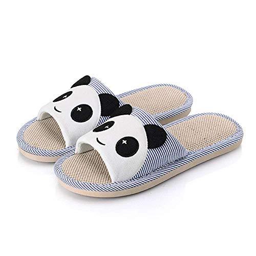 Linen Blue Home Cartoon Unisex Flax Shoes Toe Open Soft Casual 2 Slippers Bear Slide wqgSZ