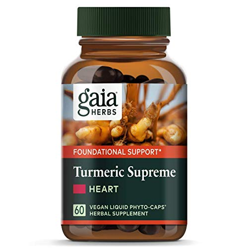 Gaia Herbs Turmeric Supreme Heart, Vegan Liquid Capsules, 60 Count - Turmeric Curcumin Supplement, Promotes Heart Health, Black Pepper, Resveratrol, Quercitin, Organic Hawthorn (Best Herbs For Heart Health)
