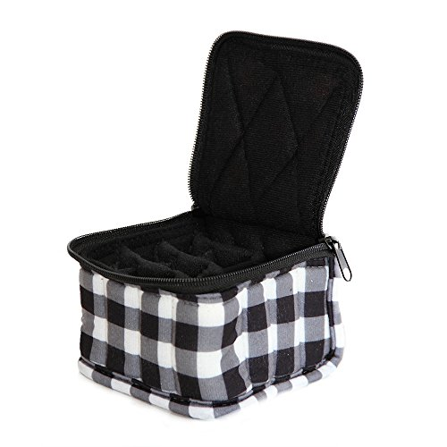 16-Bottle Essential Oil Designer Carrying Case for 5ml-15ml bottles - Black/White Checkered w/Black interior - 4