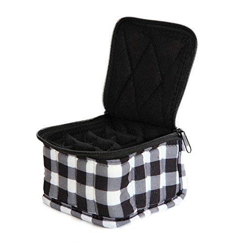 """30-Bottle Essential Oil Designer Carrying Case holds 5ml, 10ml and 15ml bottles - Black/White Checkered w/Black interior - 4"""" high"""