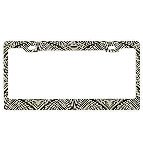 - ASLGlicenseplateframeFG Vintage Rustic Beige Black Gold Art Deco Fan Pattern Elegant Chic Retro Beautiful Japanese License Plate Frame Aluminum Protector Car Tag Frame