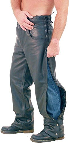 Exclusive Side Zip Pants - Jamin' Leather Side Lace Touring Motorcycle Overpants (44) #MP8072ZL