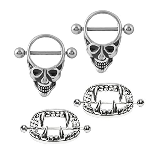 SunniMix 2 Pairs Punk Gothic Skeleton Shield Nipple Ring Stainless Seel Teeth Head Halloween 14g (Gothic Shield)