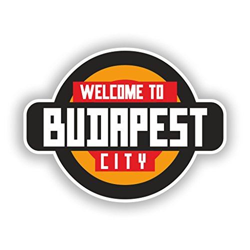 2 x 10cm/100mm Welcome to Budapest Vinyl Stickers Travel Luggage #10343