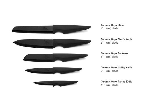 Onyx Ceramic Chef Knife Set by Edge of Belgravia | 5 Piece Ceramic Knife Cutlery Set | Chef's Knife, Slicer Knife, Utility Knife, Santoku Knife & Paring Knife by Edge of Belgravia