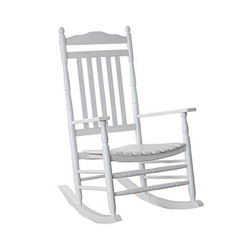 B Z KD-22W Wooden Rocking chair Porch Rocker White Outdoor Traditional Indoor