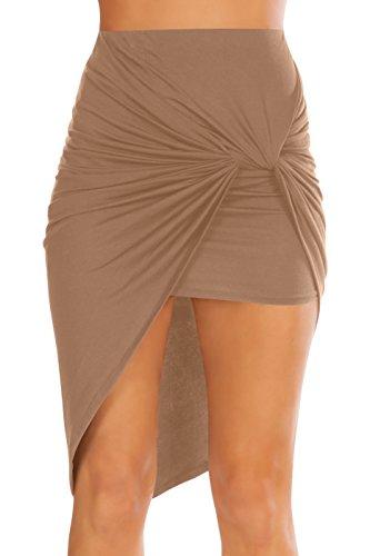 (Simlu Womens Drape Up Stretchy Asymmetrical High Low Short Mini Bodycon Pencil Skirt Mocha Medium)