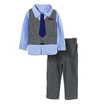 Pieces Baby Boys Shirt Vest Pants Tie Outfit Party Set D40: Clothing