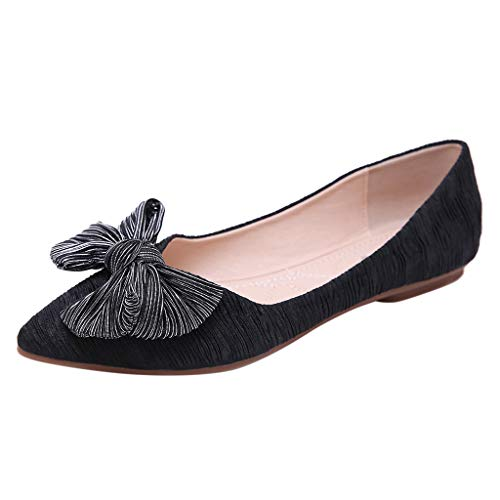 (Cywulin Women's Comfortable Bow Knot Pointy Toe Slip On Ballet Sweet Flat Dress Shoes Elegant Cute Ballerina Fashion Loafer (Black, 8 M US))
