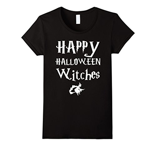 Womens Happy Halloween Witches T-Shirt Large Black
