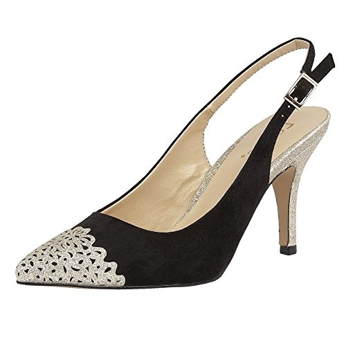 Lotus ladies arlind glitz low heeled sling back shoes 50796