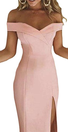 Cruiize Womens De L'épaule Bustier Haute Fente Robe De Soirée De Fête Rose