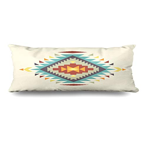 Ahawoso Body Pillows Cover 20x54 Inches Ethnic Blue Aztec Abstract Pattern Swatch Brown Navajo Peruvian Tribal Native Peru Decorative Zippered Pillow Case Home Decor Pillowcase
