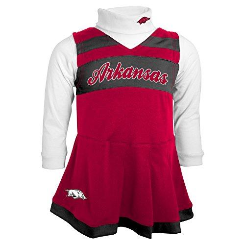 NCAA by Outerstuff NCAA Arkansas Razorbacks Toddler Girls Cheer Jumper Dress w/ Turtleneck Set, Victory Red, (Infant Cheer Jumper)
