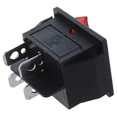 TOOGOO(R) 16A/250V 20A/125V AC Red Neon Light ON/OFF DPST Boat Rocker Switch 5 Pcs by TOOGOO(R) (Image #5)