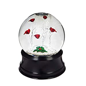 Cypress Home Perching Christmas Cardinal LED Illuminated Acrylic Snow Globe with Spinning Action, 4 x 4 x 5 inches