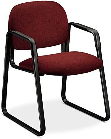 HON 4008AB62T Solutions Seating Sled Base Guest Chair, Olefin, Burgundy