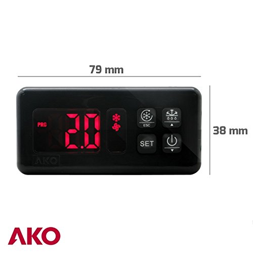 AKO D-14323 230v Temperature Controller | Universal Digital Replacement Thermostat Controller with Adjustable Defrost Cycle for Commercial Food Display Cabinets, Walk In freezers, Restaurant Freezers