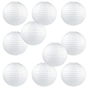 """WYZworks Round Paper Lanterns 10 Pack (White, 16"""") - with 8"""", 10"""", 12"""", 14"""", 16"""" option"""